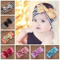 The new children 's hair accessories striped cotton headband with Lovely sequins bow ribbon baby hairhead