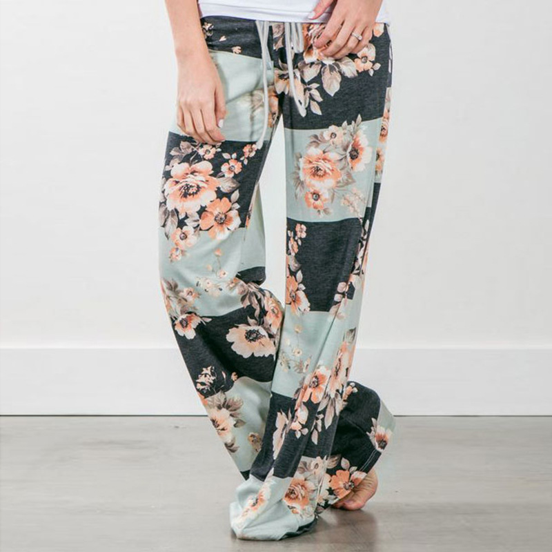 New 2018 Sleep Bottoms Women Pants Striped Floral Lace Up Waist Drawstring Wide Legs Trousers Loose Pijama Plus Size B88396