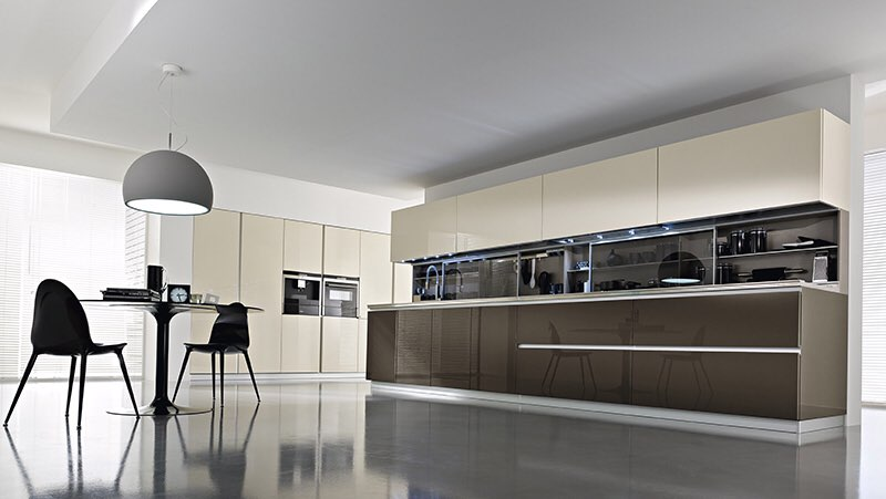 Push to open hinge kitchen cabinet high gloss