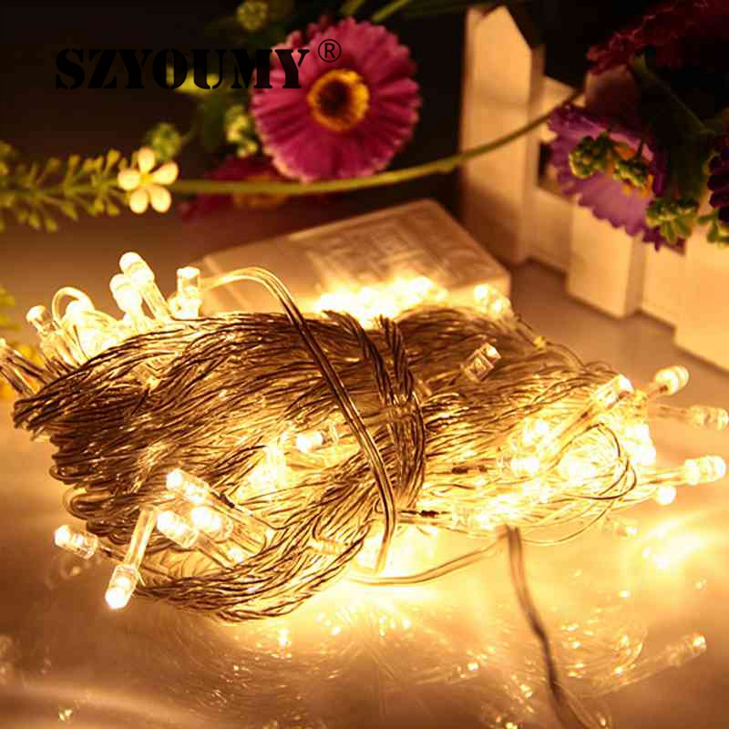 szyoumy promotion items 100 leds led string lights 10m 110v220v for clear wire christmas decoration xmas holiday lights in lighting strings from lights