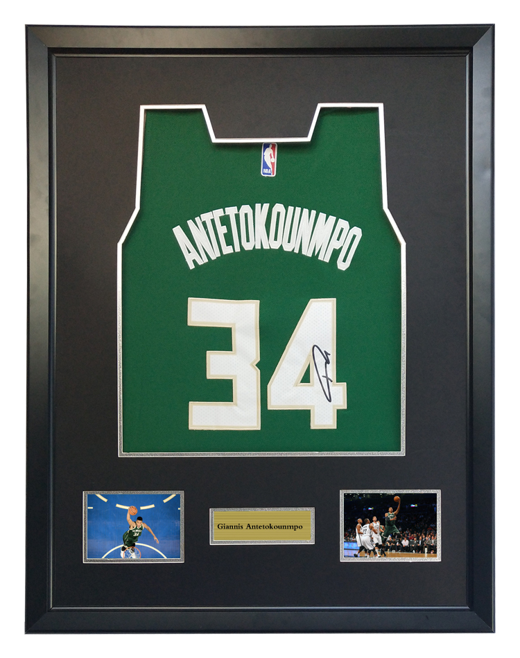 5ae8ff08c Giannis Antetokounmpo signed autographed basketball shirt jersey come with  Sa coa framed Bucks