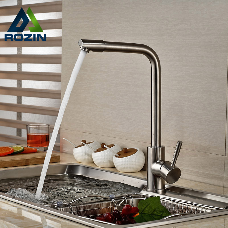 ФОТО Good Quality Deck Mount Kitchen Faucet Deck Mount Hot Cold Water Single Lever Kitchen Mixer Taps