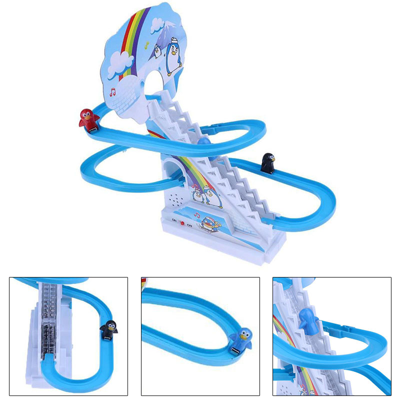 Penguin Climb Stairs Baby Kids Electric Rotary Slide Track Toys Xmas Gift Gift