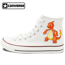 Original White Converse All Star Men Women Shoes Custom Pokemon Go Hand Painted Shoes Man Woman Canvas Sneakers Boys Girls