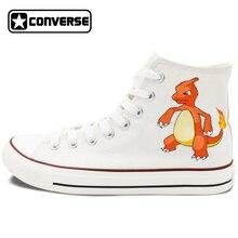 Original White Converse All Star Men Women Shoes Custom Pokemon Go Hand Painted Shoes Man Woman Canvas Sneakers Boys Girls