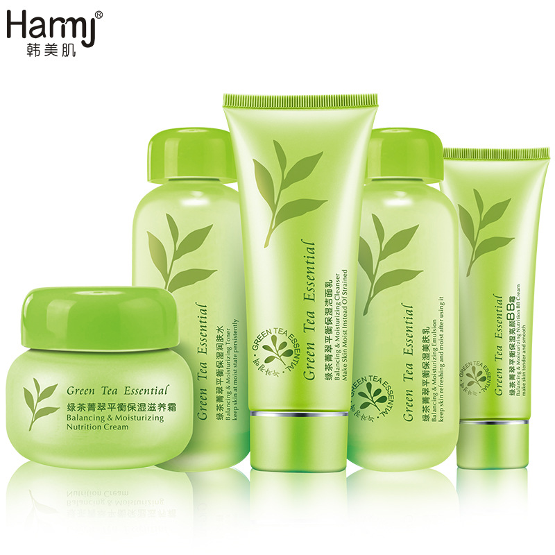 Green Tea 5pcs Skin Care Sets Korean Cosmetic Whitening Hydrating Moisturizing Firming Beauty Skin Face Care Instantly Ageles korean cosmetics skin care sets 5pcs whitening moisturizing hydrating anti aging wrinkle acne treatment firming beauty face care