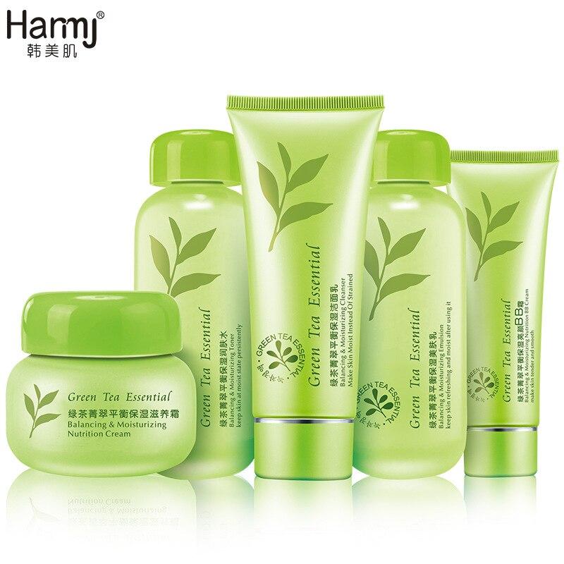 Thé vert 5 pièces ensembles de soins de la peau coréen cosmétique blanchissant hydratant raffermissant peau soins du visage