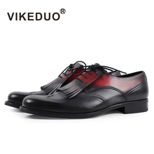 Vikeduo 2020 Handmade Original Design Luxury Fashion Brogue Formal Dress Office Party Casual Genuine Leather Mens Derby Shoes vikeduo brown italy derby shoes patina brogue handmade office dress shoes mens footwear wedding business leather shoes zapatos