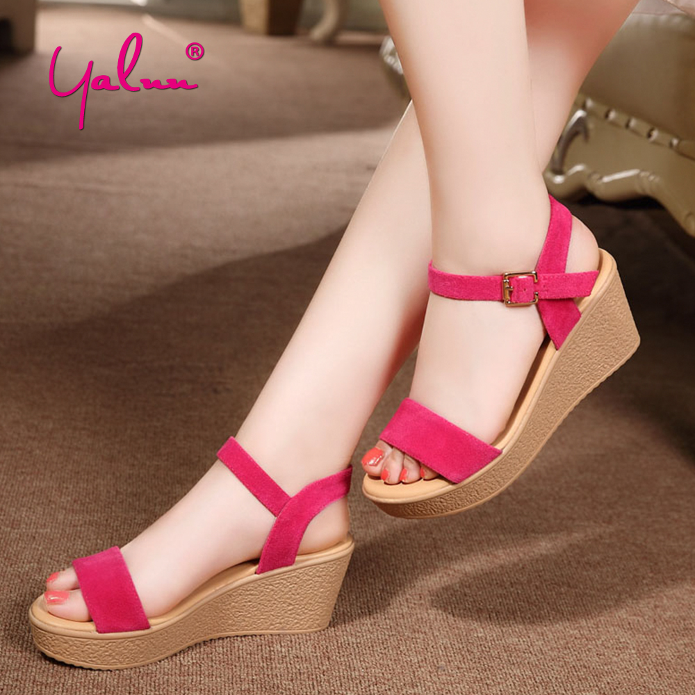 Suede Platform Sandals Wedges High Heel Black Pink Sandals Ankle Strap Heels Sweet Shoes Solid Casual Women Summer Shoes Ladies facndinll new women summer sandals 2018 ladies summer wedges high heel fashion casual leather sandals platform date party shoes