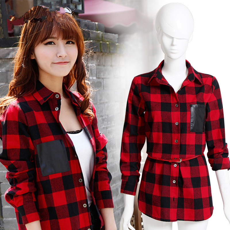 Pop New Nice Fashion font b Women b font Full Sleeve Plaid Pockets Casual Lapel Button