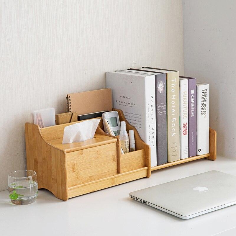 Vanzlife bamboo desktop storage box telescopic book shelf desk desk stationery remote control storage rack