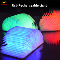 OOBEST Creative Foldable Pages Led Book Shape Night Light Lighting Lamp Portable Booklight Lamp Usb Rechargeable