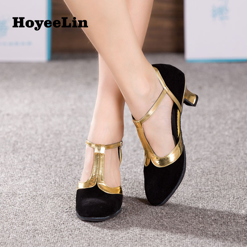 Image 2 - New Women Ladies Ballroom Party Modern Dance Shoes Closed Toe Indoor Suede Sole Waltz Tango Salsa Dancing Heels 3.5/5.5/7cm-in Dance shoes from Sports & Entertainment