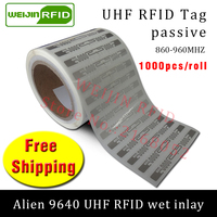 UHF RFID tag sticker Alien 9640 EPC6C wet inlay 915mhz868mhz860 960MHZ Higgs3 1000pcs free shipping adhesive passive RFID label