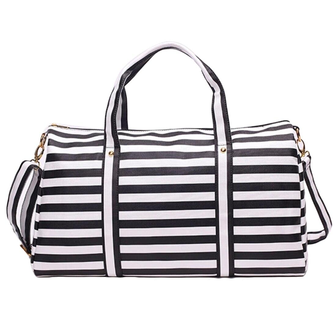 Stripe Wave Pattern Travel Bag Women Large Capacity Sports
