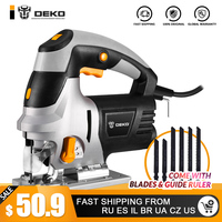 DEKO 800W Jig Saw Laser Guide 6 Variable Speed Electric Saw with 6 Pieces Blades, Metal Ruler, Allen Wrench Jigsaw Power Tools