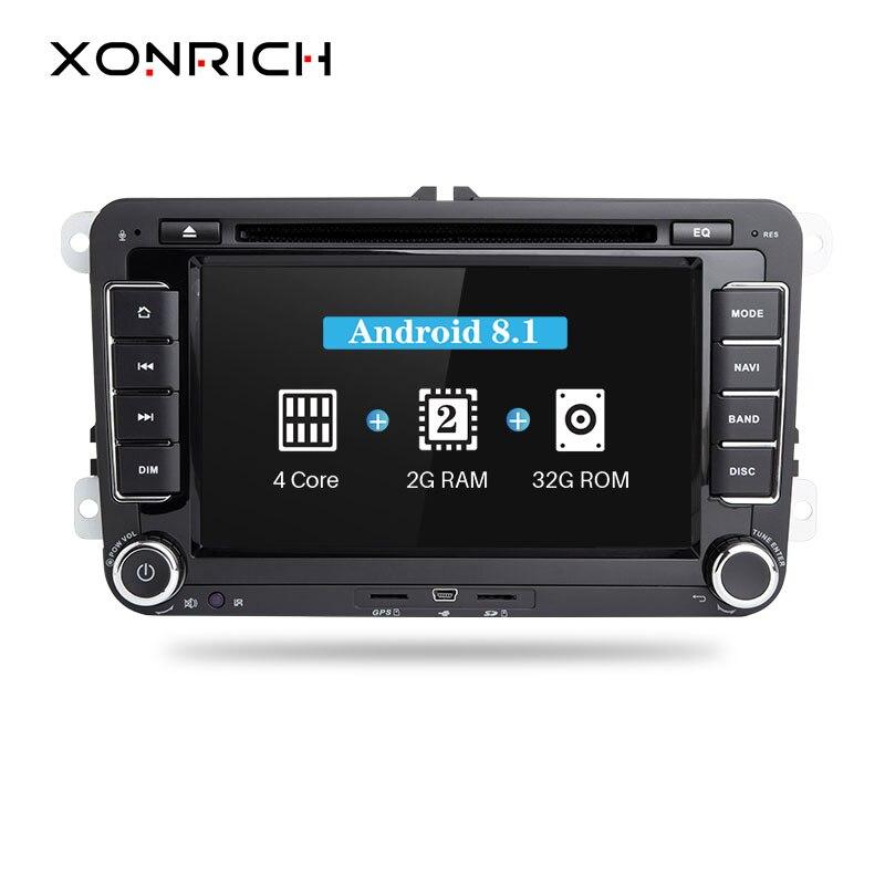 Xonrich lecteur multimédia de voiture 2din autoradio GPS Android 8.1 pour Volkswagen Passat b6 VW PoloT5 Skoda Octavia 2 golf 5 seat leon