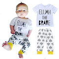 Retail Letter Printed Baby Boy Clothing Sets Short-sleeve T-shirt + Triangle Pattern Pants Kids Girl Clothes vetement enfant