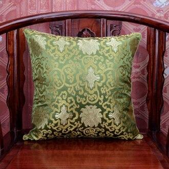 Винтаж жаккардовая подушка для кресла, дивана крышка шелковая подушка чехол площадь в этническом стиле декоративные подушки атласные рождественские наволочка 45x45 - Цвет: Зеленый