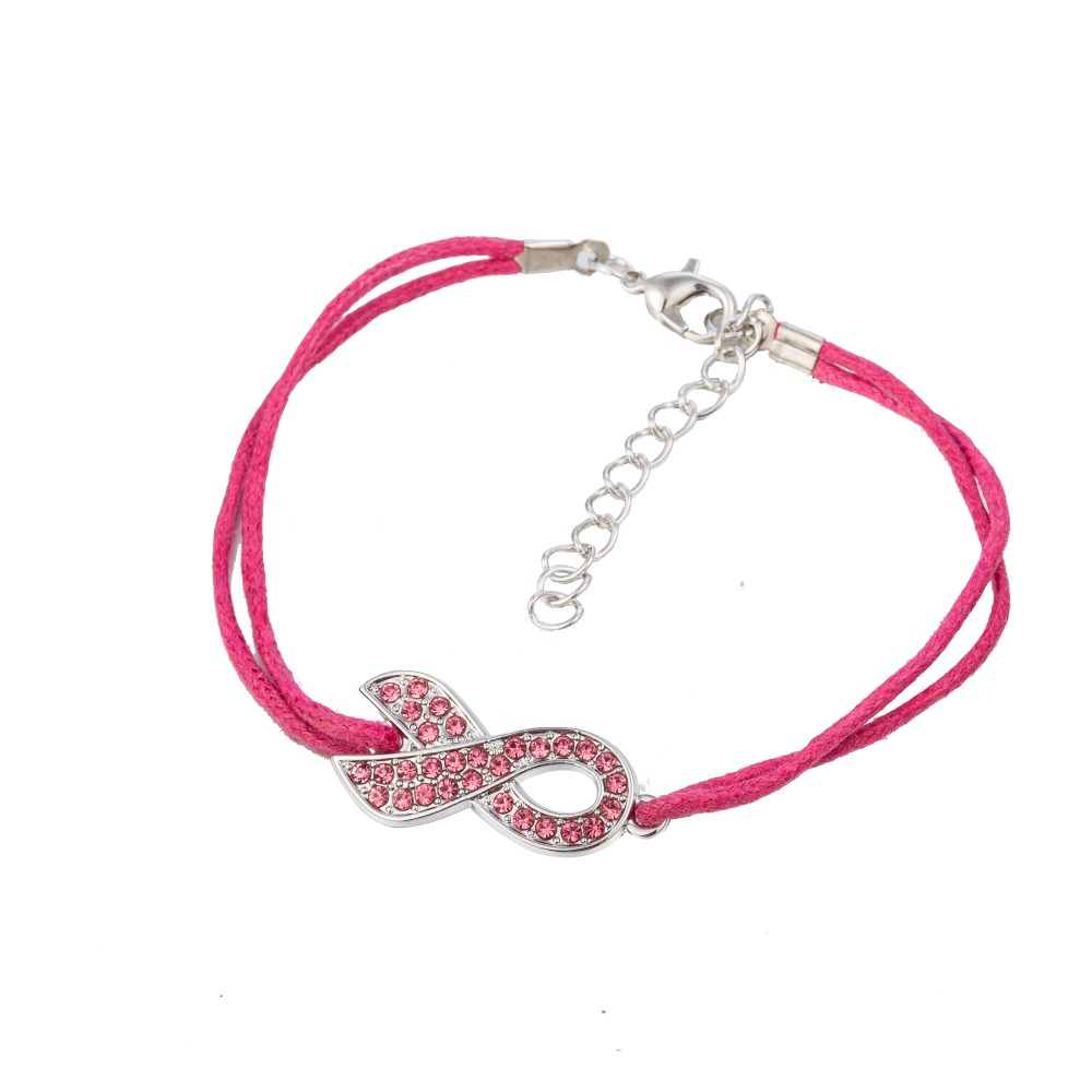 Accessoriesforever Pink Ribbon Breast Cancer Awareness Jewelry Crystal Heart Stretch Ring Gold
