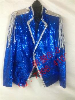 Free ship 100%real mens royal blue full sequined tuxedo jacket event/stage performance tuxedo jacket