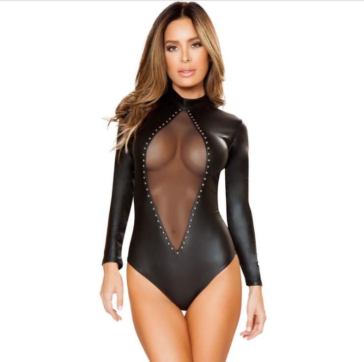 026fb33e0f PU Leather Bodysuit Women Jumpsuit Faux Leather PVC Wet Look Bodysuit  Catsuit Leotard Tops Playsuit Sexy Overalls for Women-in Teddies   Bodysuits  from ...