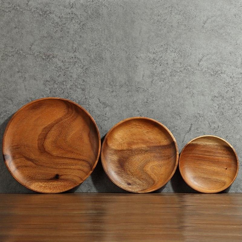 Acacia Wood Plates : Acacia natural wood round snack dish minimalist japanese