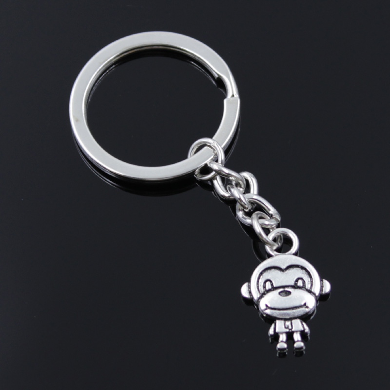 New Fashion Men 30mm Keychain DIY Metal Holder Chain Vintage Double Sides Monkey 15x27mm Silver Color Pendant Gift