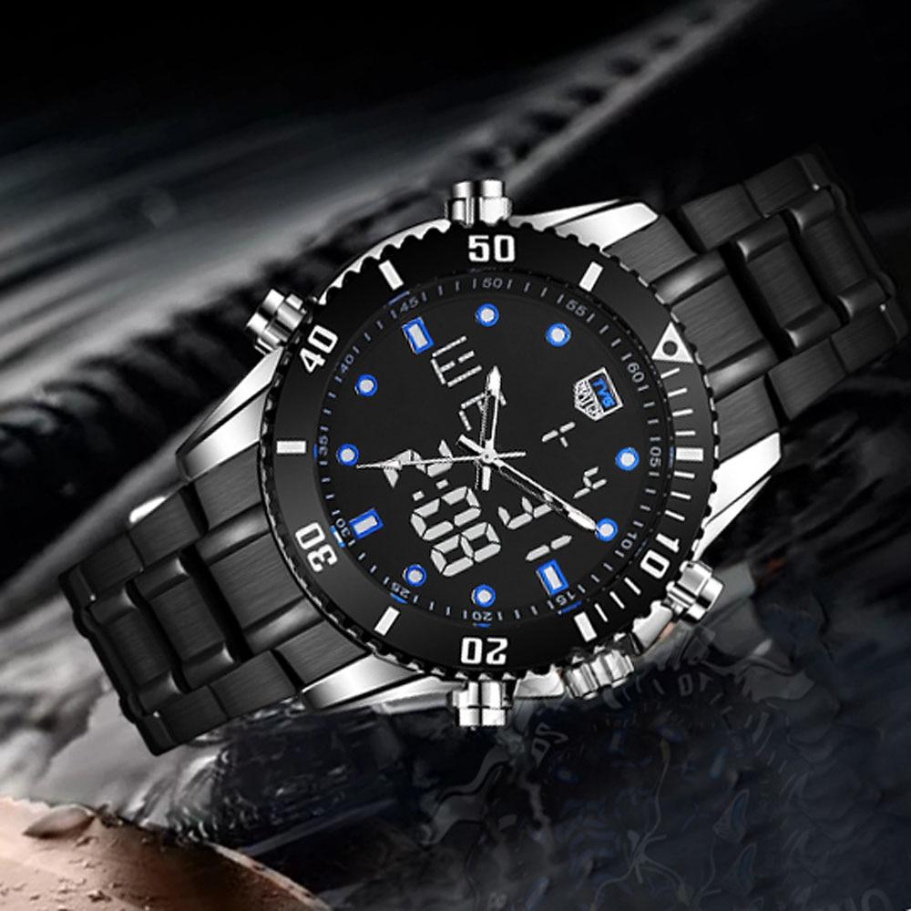 092996d54e9 2018 חדש גברים שעון למעלה מותג TVG גברים שעון נירוסטה תצוגה כפולה קוורץ שעונים  גברים שעון