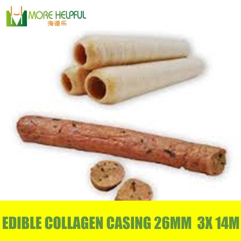 Meilleur vente 42 Mètres 3 pcs/lot Diamètre 26mm saucisse halal Comestibles artificielle Collagène boîtier livraison gratuite saucisse peau couverture