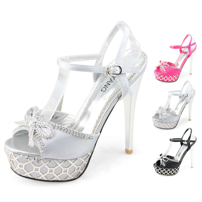 Womens Silver Pink Black High Platform Pioted Heels Sandal Ladies Stiletto  Shoes For Wedding Prom Bow Diamante SHOEZY 2014 New In Womenu0027s Sandals From  Shoes ...