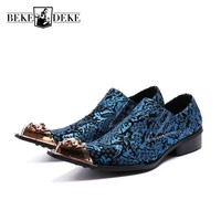 Włoski Floral Wydrukowano Niebieski Suknia Ślubna Buty Mężczyźni Prawdziwej Skóry Mężczyzna Bankietowa Kadencji Metalu Szpiczasty Nosek Slip On Loafers