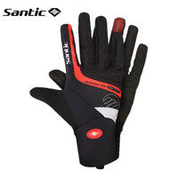Santic Cycling Gloves Winter Road Mountain Bike MTB Gloves Full Finger Men Autumn Warm Shockproof Sport Gloves Guantes Ciclismo