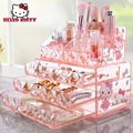 New 2016 Hot Hello Kitty Acrylic Makeup Organizer Drawer Grid Cosmetic Case Lipstick Holder Storage Jewelry Box Skincare