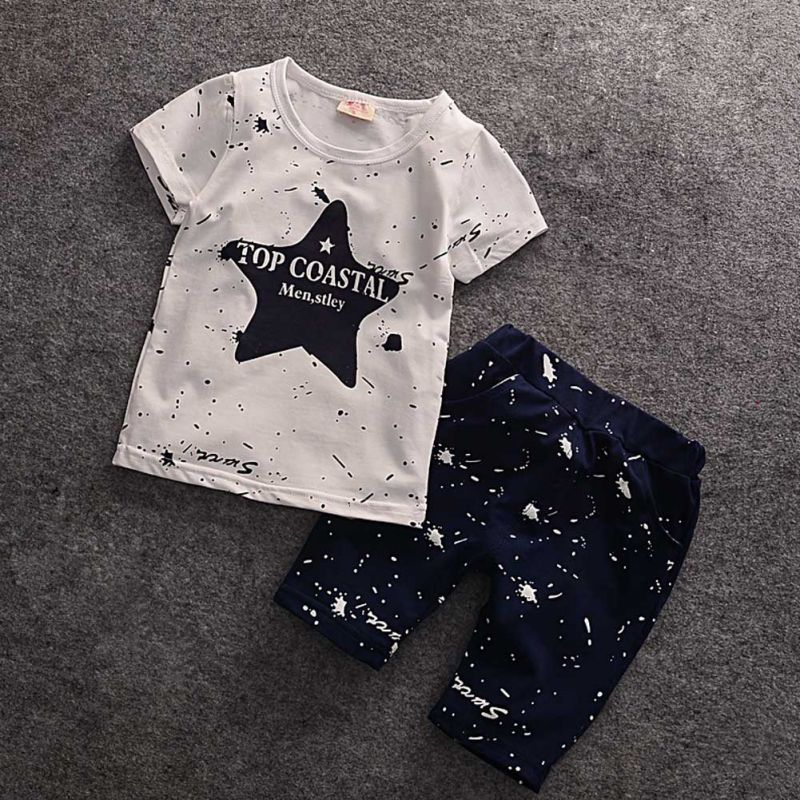 Hot Sale Summer Baby Boys Clothes Kids Short Sleeve Clothing Set 2017 Star Toddler Boys short