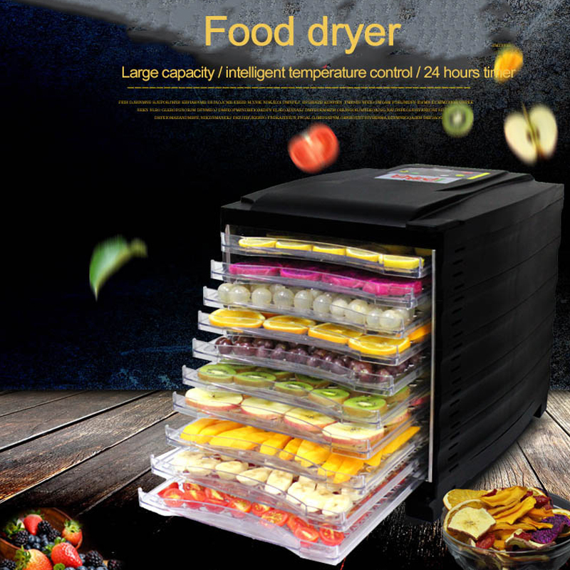 Food Dehydrator Fruit Vegetable Herb Meat Drying Machine Snacks food Dryer with 10 Trays professional pet food dehydrator fruit and vegetable snacks dryer machine food processor drying fish