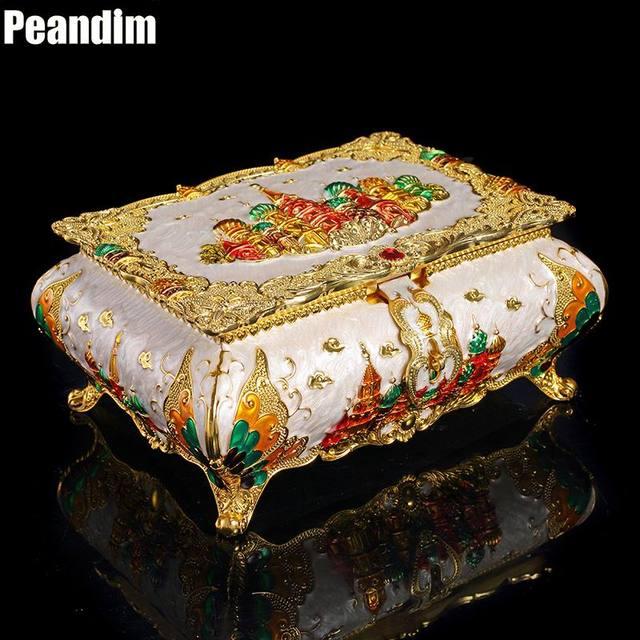 PEANDIM Vintage Flower Castle Carved Metal Jewelry Box Multi Colors