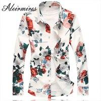 Aleirmires Men Long Sleeve Flowers Shirts 2018 New Fashion Casual Slim Fit Full Floral Print Plus Size 6XL 7XL Mens Brand Shirts