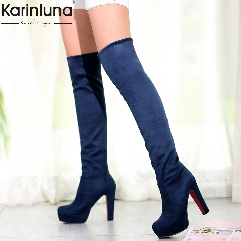 KARINLUNA brand New large size 34-43 fashion platform high heels party dancing woman shoes women over the knee boots woman shoes
