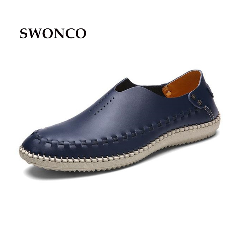 SWONCO Men's Shoes Genuine Leather Spring Summer Causal Shoes Men Loafers Mens Shoe 2018 Casual High Quality Flats Driving Shoe 2016 trend crocodile grain mens loafers genuine leather comfortable rubber soft bottom casual driving men shoe basic flats z616