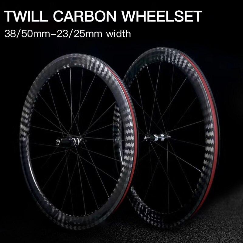 New carbon road bike wheels 23mm 25mm width 38mm 50mm Tubular Clincher 12k tiwllchinese carbon bicycle