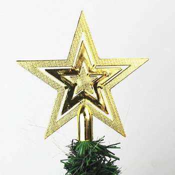 1pc Gold Silver Red Star Christmas Tree Top 3D Five-point Home Table Topper Xmas Decoration Merry