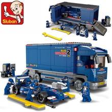 Compatible with lego SLUBAN 0357 F2 Racing Truck Building Block Set 3D Construction Brick Toys Educational Block toy