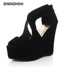 free shipping 2016 platform high heeled shoes platform sandals female classic lacing open toe platform wedges