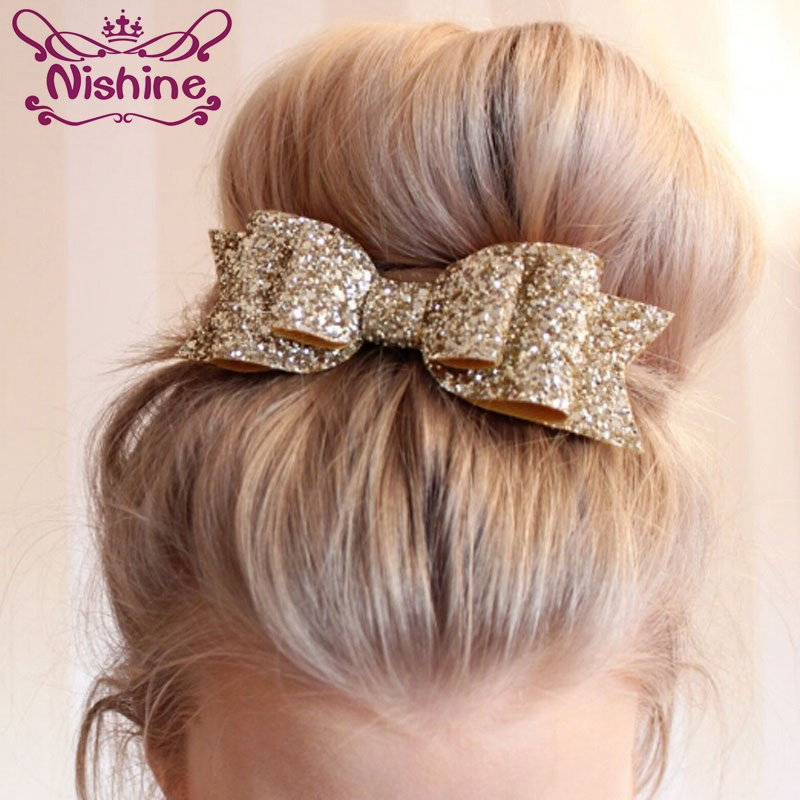 Nishine 16 Colors New Fashion Women Hair Clips Lady Girls Sequin Big Bowknot Barrette Hairpin Kids Adult Hair Bow Accessories
