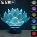 Flor de lótus 3D USB Led night light mudança de 7 cores de natal humor lâmpada toque botão kids bedroom mesa um free remoto controle
