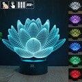 Flor de loto 3D USB Led de la noche de luz cambio de 7 colores de navidad lámpara de estado de ánimo botón táctil niños dormitorio mesa un free remote control