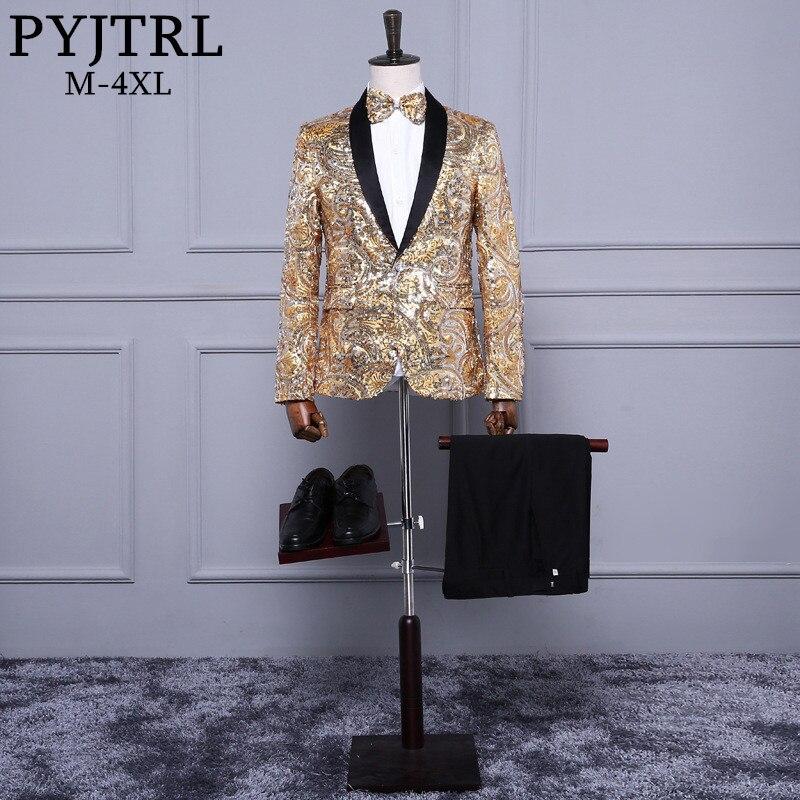 PYJTRL Mens de mode Châle Laple Rose Or Paillettes Paillette De Mariage Marié Costumes Stade Chanteur Discothèque Bar DJ Slim Fit Smoking