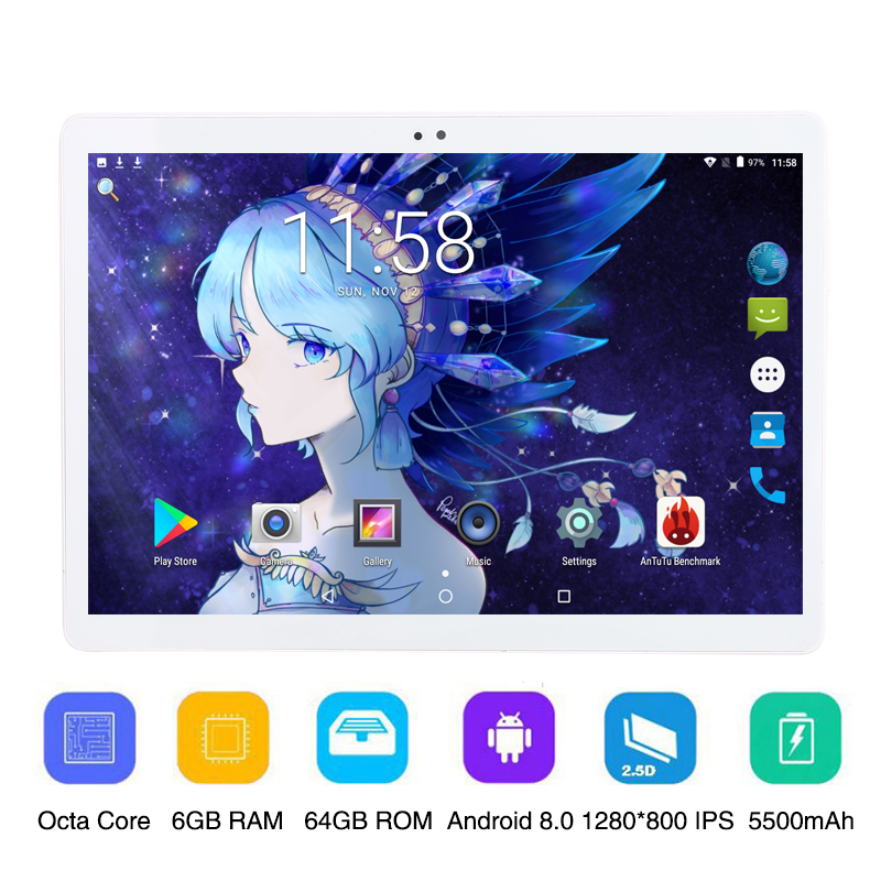 NEW 10 Inch 3G 4G LTE Tablet PC Octa Core 6GB RAM 64GB ROM 1280x800 Ips Android 8.0 MTK8752 10.1 Inch Tablet PC FM WIFI