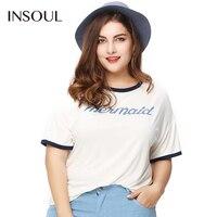 INSOUL Plus Size 2017 New Fashion Women Slim T Shirt Big Large Size Letter Printing Black